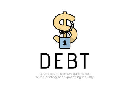 Finance. Debt. Dollar sign logo on which a chain with a padlock hangs, the inscription debt. Vector illustration