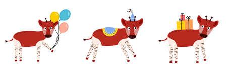 Illustration of okapi. Okapi character. 矢量图像