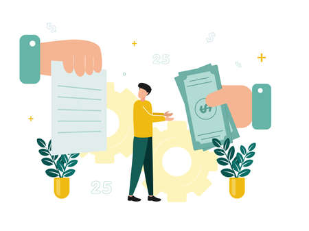 Finance. Financial intermediaries. The man reaches for the bills that the big hand gives, looks at the document that the hand is holding, against the background of the gear. Vector illustration.