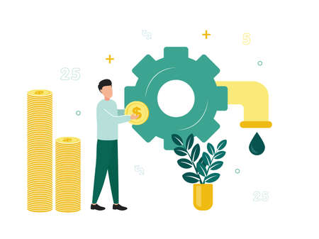 Finance. Resource financing. A man with a dollar coin near a gear, from which a tap with a drop, stacks of coins near him, a plant. Vector illustration.