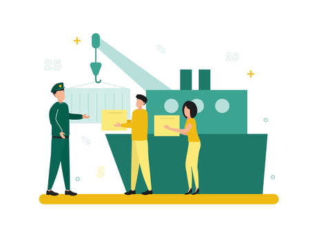 Finance. Customs broker and brokerage services. Near the ship, a document hangs on a hook, people with boxes and a man in uniform. Vector illustration.