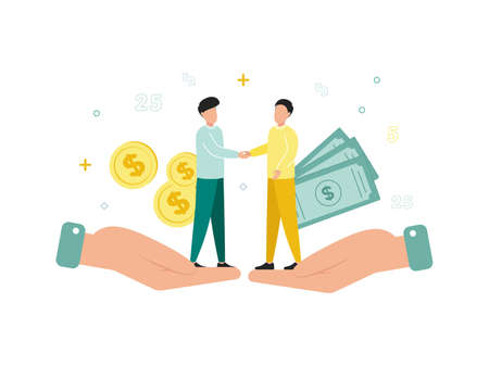 Finance. Financial intermediaries. Men stand on two palms and shake hands, behind them are dollar bills and coins. Vector illustration. 向量圖像