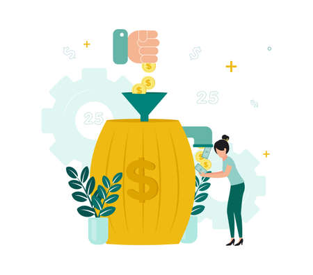 Finance. Financial intermediaries. A hand throws coins into a barrel through a funnel, from a barrel a tap, from which money is poured into a woman's hands. Vector illustration.