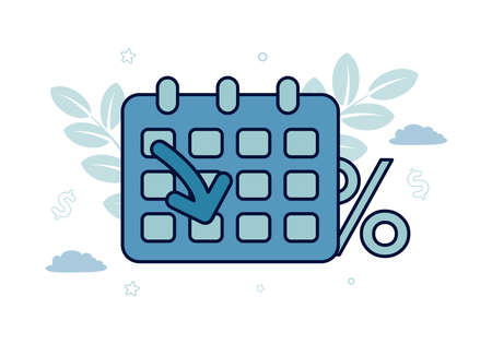 Finance. Debt restructuring. Calendar with arrow and percent sign, inscription Debt restructuring. Vector illustration. Vektoros illusztráció