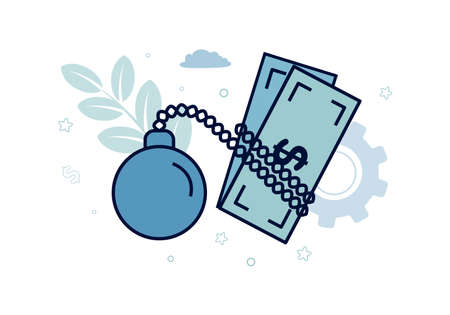 Finance. Debt. Dollar bill in chains of shackles with a load, the inscription debt. Vector illustration.