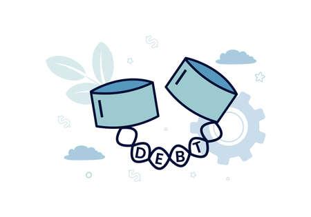 Finance. Debt. Shackle, chain with debt inscription. Vector illustration