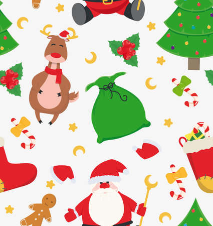 Seamless New Year's pattern with santa claus, deer, gingerbread man, christmas tree, lollipop. Vector illustration.