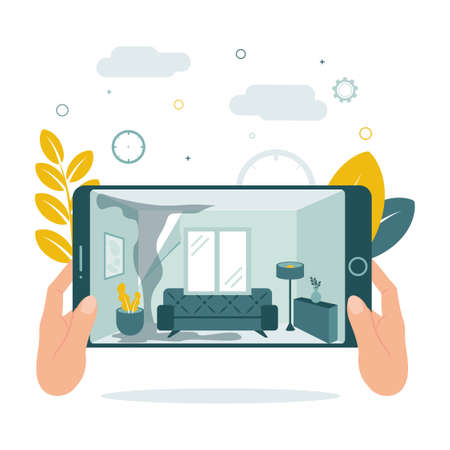 CCTV. Video Surveillance. Remote access. Watch video recording of the apartment on the tablet.See flooded apartment with video surveillance. Vector illustration.