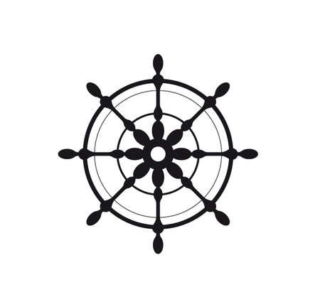 Ship steering wheel. Vector illustration. Black icon
