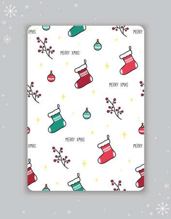 Christmas card with the image of socks, Christmas tree balls, berries. Vector illustration.