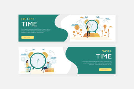 Web banners. Time management. The girl climbs the stairs to the big clock. Coins are growing nearby. Big alarm clock. The girl sits on the hourglass. The man sits on the coins. Vector.