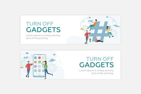 Web banner. Social media addiction. People use smartphones next to the big hashtag. The girl clicks on the mail icon on a large smartphone, next to which is a guy. Vector.