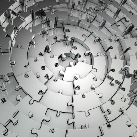 Metalen puzzel achtergrond, 3D render van metalen cirkelvormige puzzelstukjes