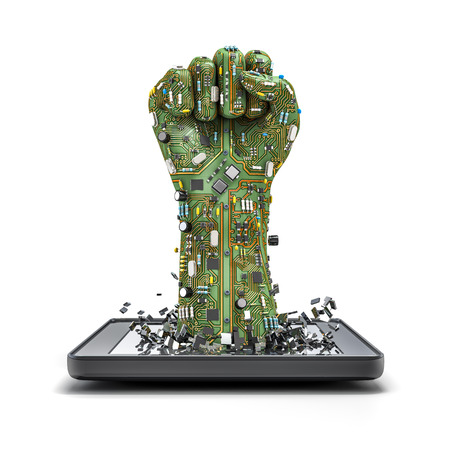 background information: Data fist tablet, 3D render of raised fist made of computer circuit board bursting from tablet computer