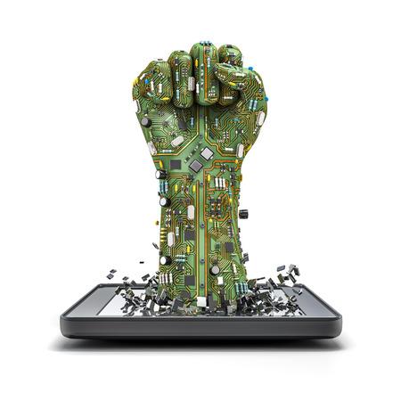 tecnologia: tablet punho de dados, 3D rende de punho erguido feita da placa de circuito do computador estourando a partir do computador tablet