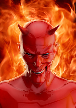 De duivel, 3D render van grijnzende rode duivel en hellfire