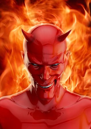 satanas: El diablo, 3D hacen de una sonrisa del diablo rojo y el fuego del infierno Foto de archivo