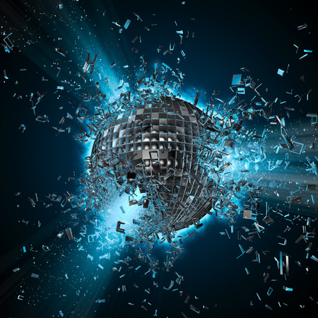 on mirrors: Disco planet explosion,  3D render of exploding disco ball