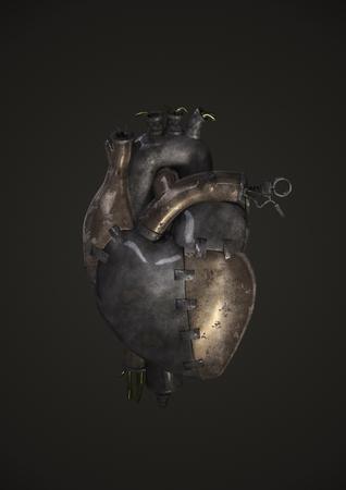 증기 펑크 금속 심장, 금속 접시, 파이프, 밸브 및 와이어로 이루어진 심장의 3D 렌더링 스톡 콘텐츠