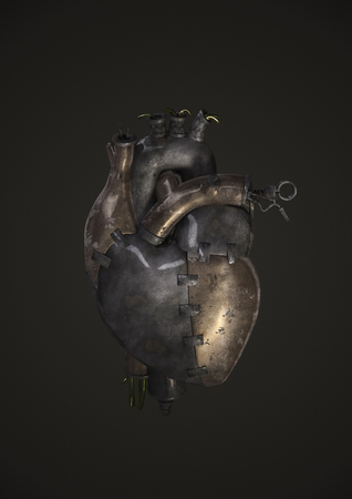Steam-punk metal heart , 3D render of heart made of metal plates, pipes, valves and wires