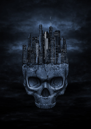 Ciudad oscura, 3D hacen de la ciudad moderna de la noche encaramado en la parte superior del cráneo de piedra en el cielo nocturno