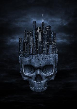 demonio: Ciudad oscura, 3D hacen de la ciudad moderna de la noche encaramado en la parte superior del cráneo de piedra en el cielo nocturno