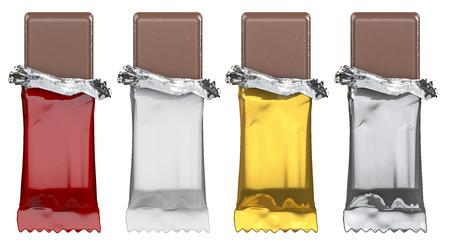 一般的なキャンディーバーだけアートワーク、空の赤の棒キャンディの 3 D レンダリングを追加白、金、銀のラッパー 写真素材