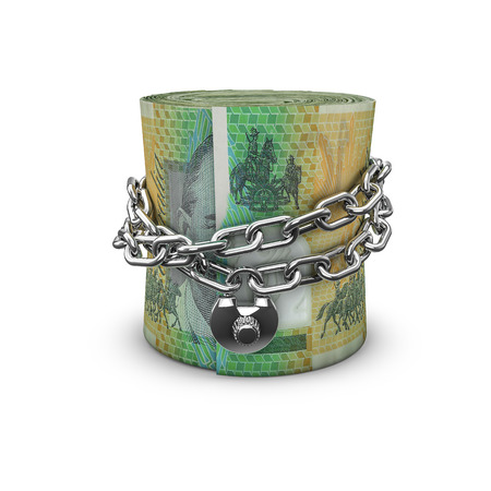 australian dollars: Chained money roll Australian dollars, 3D render of locked chain around rolled up Australian hundred dollar bills Stock Photo