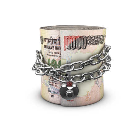chained: Chained money roll rupees, 3D render of locked chain around rolled up thousand rupee notes