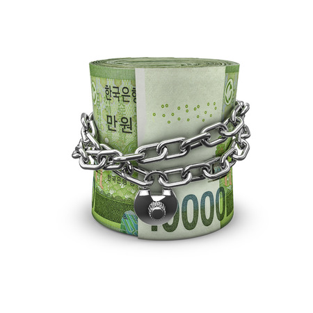 money roll: Chained money roll South Korean won, 3D render of locked chain around rolled up South Korean ten thousand won notes