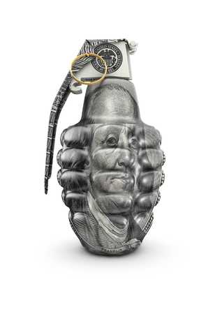 hundred dollar bill: Hundred dollar grenade, 3D render of hand grenade decorated with hundred dollar bill
