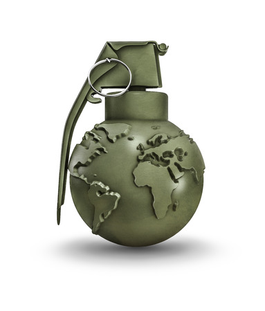 Earth grenade, 3D render of hand grenade with map of earth Stock Photo