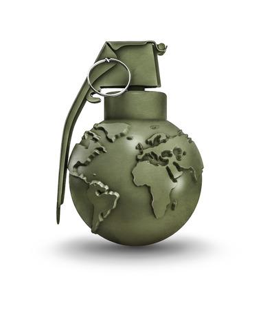 Earth grenade, 3D render of hand grenade with map of earth Archivio Fotografico