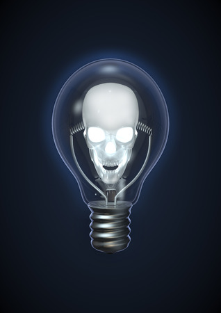 terrify: Evil idea, 3D render of glowing skull in light bulb
