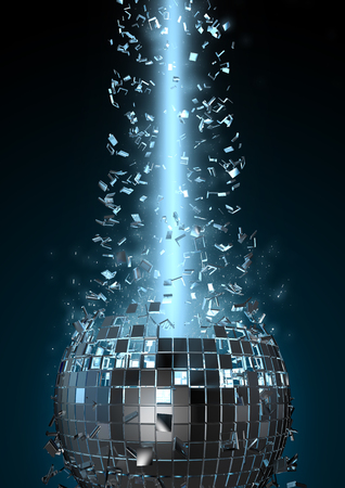 mirror ball: Disco explosion, 3D render of disco ball shattered by beam of light