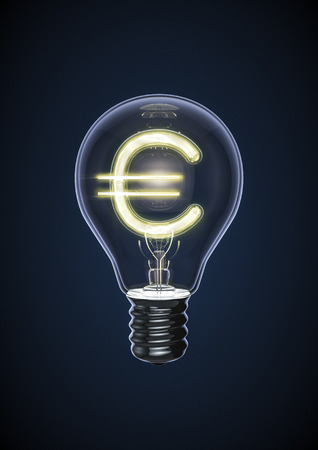 Euro bulb, 3D render of glowing euro sign inside light bulb