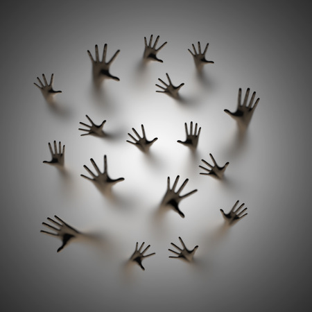 Lost souls, 3D render of ghostly hands reaching up behind frosted glass Archivio Fotografico