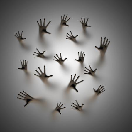 Verloren zielen, 3D render van spookachtige handen die omhoog achter matglas