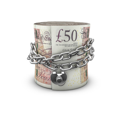 pound sterling: Chained money roll pounds, 3D render of locked chain around rolled up fifty pound notes