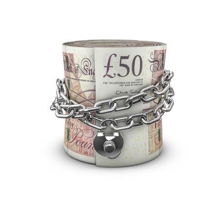 caja fuerte: libras rollo de dinero encadenados, 3d de la cadena cerrada alrededor de enrollado cincuenta billetes de una libra