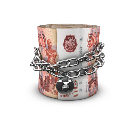 money roll: Chained money roll Russian rubles, 3D render of locked chain around rolled up Russian five thousand ruble notes