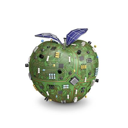 태양 강화 된 데이터 애플, 잎을위한 태양 전지 패널과 컴퓨터 회로 보드로 만든 사과의 3D 렌더링