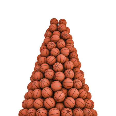 basketballs: Basketballs peak, 3D render of piled basketballs Stock Photo