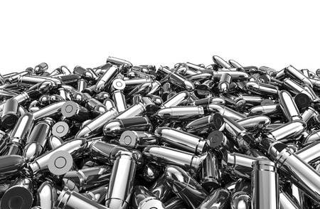 Silver bullets pile, 3D render of 9 mm bullets