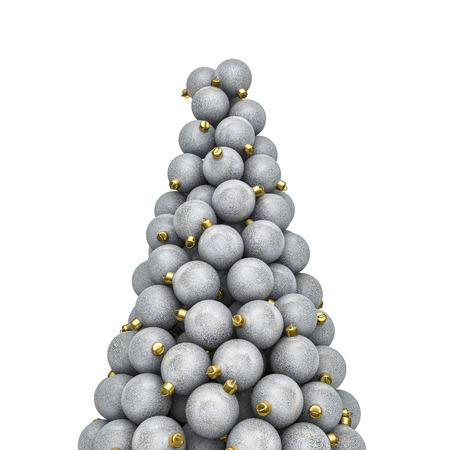 piled: Christmas ornaments peak silver, 3D render of piled christmas ornaments