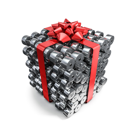 Dumbbell gift, 3D render gift wrapped dumbbells