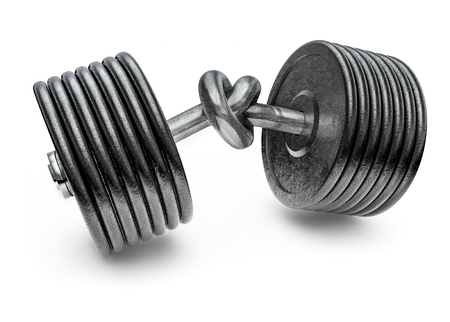 tied in: Dumbbell knot, 3D render of heavy dumbbell tied in a knot