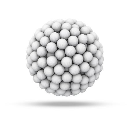 golfball: Golf ball sphere, 3D render of golf balls forming sphere Stock Photo