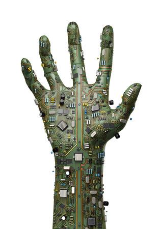 コンピューター回路基板の上げられた手のデータ手、3 D レンダリングします。