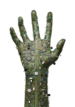 데이터 손, 3D는 컴퓨터 회로 보드로 만든 제기 손의 렌더링 스톡 콘텐츠